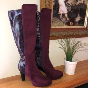Impo stretch faux snakeskin/suede knee high boots